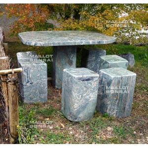 Table and 6 stools in Japanese stone